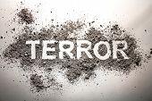 The word terror written in ash as terrorism war fear death murder bomb explosion concept poster