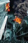 Detailed destruction of fictitious city with fires and explosion. Concept of war natural disasters judgement day fire nuclear accident or terrorism. Vertical orientation. poster