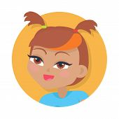 Girl with two red pigtails and forelock. Bright line on forelock. Portrait of nice female person with hazel eyes. Blue t-shirt. Cartoon style in flat design. Kindergarten lady avatar userpic. Vector poster
