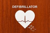 Heart shape with echocardiogram and DEFIBRILLATOR text. Medical cardiology concept poster