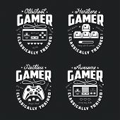 Retro video games related t-shirt design. Oldschool gamer text. Monochrome joystick set. Quotes about gaming. Pixel hearts and monsters. Vector vintage illustration. poster
