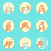 Hands Washing Sequence Instruction, Infographic Hygiene Poster For Proper Hand Wash Procedures. Info Illustration How To Clean Palms In Hygienic Way Series Of Vector Icons. poster