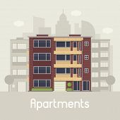 Apartment building front view on urban background. Multistory house on town landscape vector illustration. Bauhaus architecture urban home in flat design. Real estate agency in modern city concept. poster