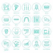 Dentist, orthodontics line icons. Dental care equipment, braces, tooth prosthesis, veneers, floss, caries treatment and other medical elements. Health care thin linear signs for dentistry clinic. poster