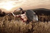 War god. Sepia toned shot of a muscular strong Roman legionary warrior with perfectly shaped athletic body throwing his spear during the battle in the field on dusk power fearless war concept poster