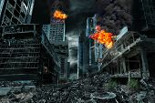 Detailed destruction of fictitious city with fires explosions debris and collapsing structures. Concept of war natural disasters judgment day fire nuclear accident or terrorism. poster