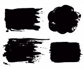 Grunge paint vector. Painted brush stroke stripes. Rectangle text box set. Distress texture backgrounds. Hand drawn banners, labels. Black textured design elements. Grungy scratch effect paintbrush. poster
