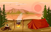 Summer tourist camp in forest near lake vector. Campfire and tourist tent on river bank. Camping and hiking, summer vacation outdoor, adventure travel, mountain landscape in cartoon style. Summer camping with tent. Cartoon camping concept. poster