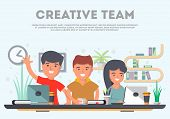 Teamwork of business people in office space vector. Business workspace, partnership, creative team, group brainstorming. Cartoon teamwork idea generation concept. Teamwork meeting of business project and teamwork business community concept. poster
