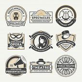 Dramatic theatre isolated label set vector illustration. Spectacle reincarnation and dramatic presentation symbol, literary work icon, professional opera stage logo. World theatre badge collection. poster