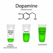 Chemical molecular formula hormone dopamine. The hormone pleasure. Lowering and raising of dopamine. Infographics. Vector illustration poster