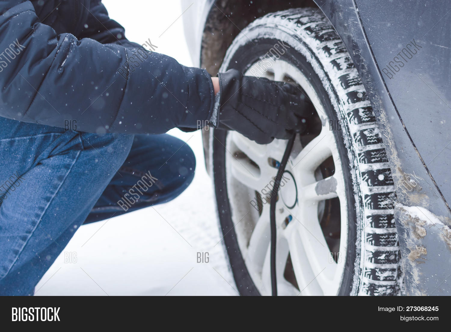 Driver Inflating Tire Image & Photo (Free Trial)   Bigstock