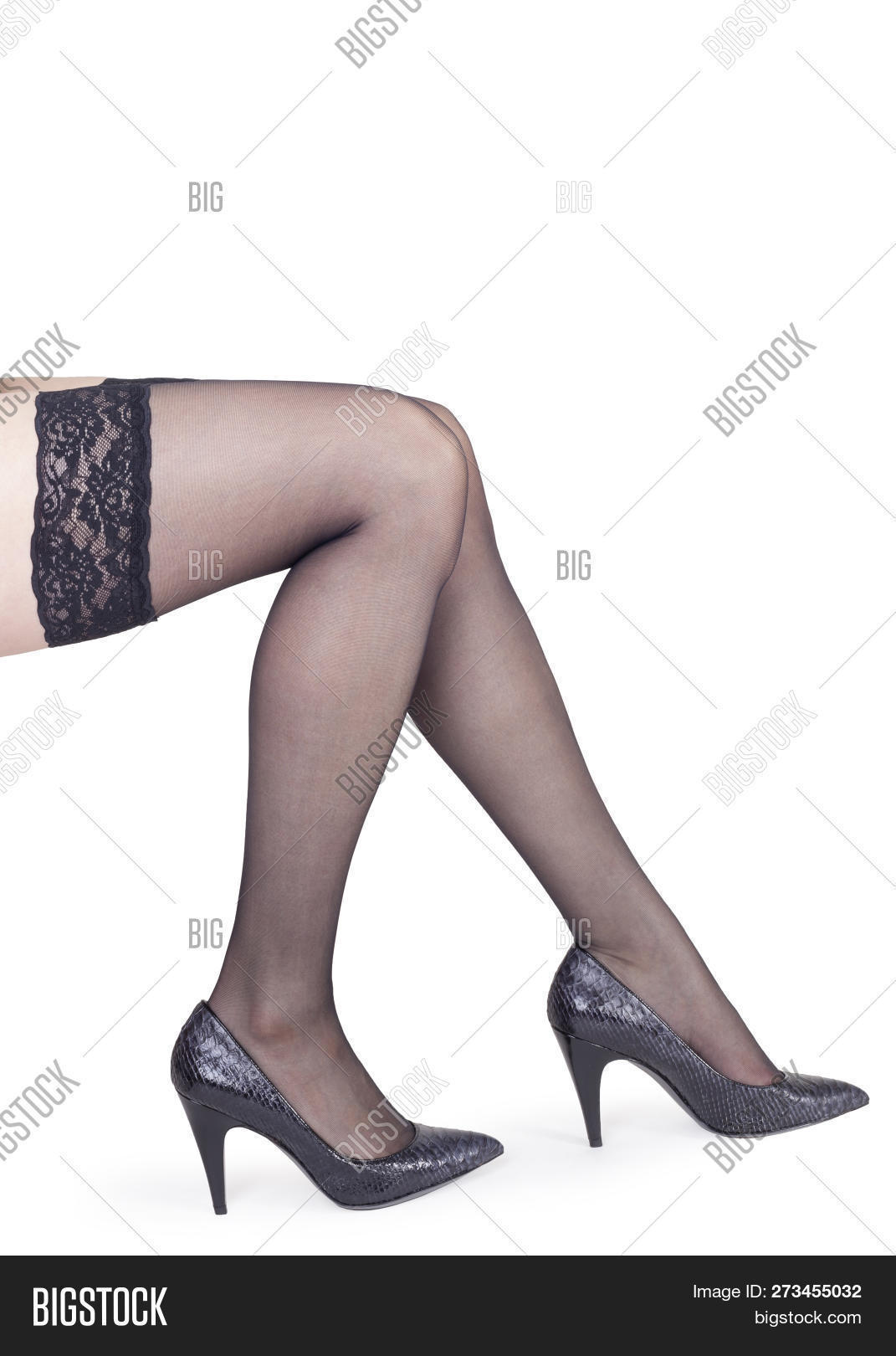 2f5e31e131a Perfect Long Female Legs In Black Nylon Stockings And Heel Shoes Isolated  On White Background -