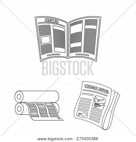 Vector Illustration Of Daily And Folded Icon. Set Of Daily And Paper Vector Icon For Stock.