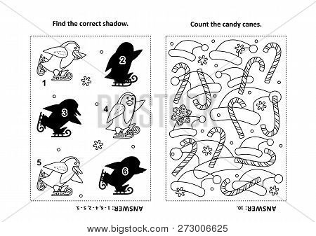 Two Visual Puzzles And Coloring Page For Kids. Find The Shadow For Each Picture Of Skating Penguins