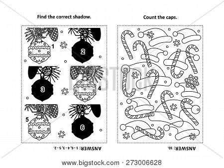 Two Visual Puzzles And Coloring Page For Kids. Find The Shadow For Each Picture Of Beautiful Ornamen