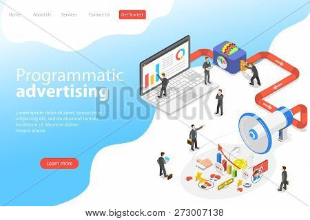 Flat Isometric Vector Landing Page Template Of Programmatic Advertising.