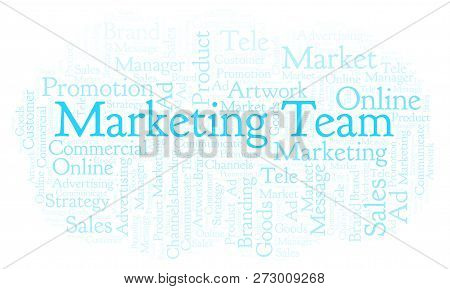 Word Cloud With Text Marketing Team. Wordcloud Made With Text Only.