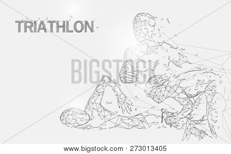 Swimming, Cycling And Running In Triathlon Game Form Lines, Triangles And Particle Style Design. Ill