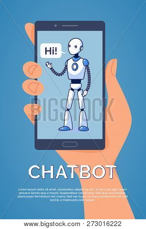 Artificial Intelligence. Chatbot Concept. Flat Style Vector Illustration.