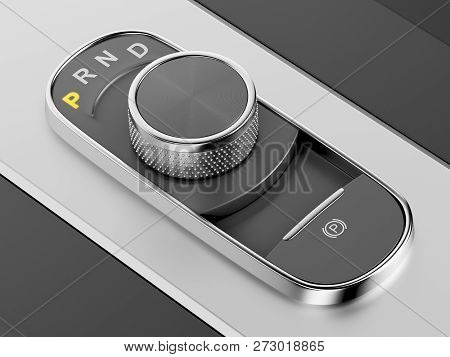 Rotary Knob Style Gear Selector On The Central Console In A Luxury Car, 3d Illustration