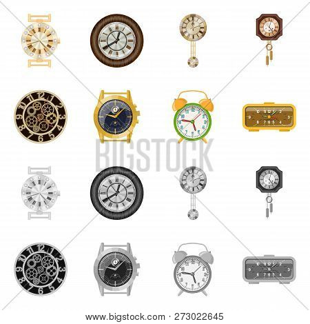 Vector Illustration Of Clock And Time Symbol. Set Of Clock And Circle Vector Icon For Stock.