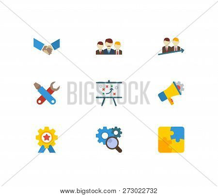 Technology Cooperation Icons Set. Technical Strategy And Technology Cooperation Icons With Solution,