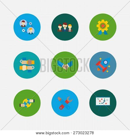 Technology Partnership Icons Set. Teamwork And Technology Partnership Icons With Technical Developme