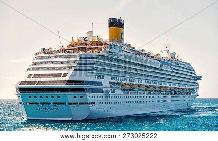 Miami, Usa-january 24. 2016: Cruise Ship Costa Favolosa. Large Luxury White Cruise Ship Liner On Sea
