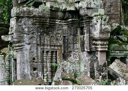 Ancient Wild Moss Covered Ruins In The Jungles Of Cambodia