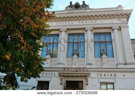 Drobeta Turnu Severin, Romania - 10.08.2018: Traian National College Landmark Architecture