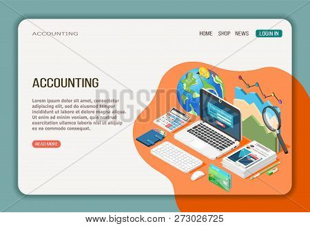 Accounting Isometric Web Page With Economy Analysis Internet Banking And Documentation On White Oran