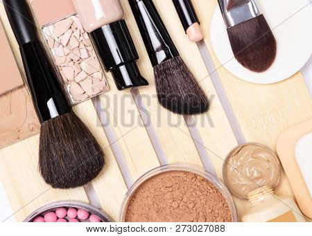 Make-up Products For Perfect Complexion: Concealer, Primer, Foundation, Powder, Blush With Makeup Br