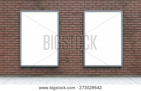 Blank Lightboxes Or Street Lcd Panels On Brown Brick Wall