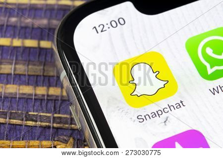 Sankt-petersburg, Russia, December 5, 2018: Snapchat Application Icon On Apple Iphone X Smartphone S