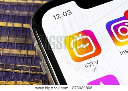Sankt-petersburg, Russia, December 5, 2018: Apple Iphone X With Social Networking Service Igtv Insta