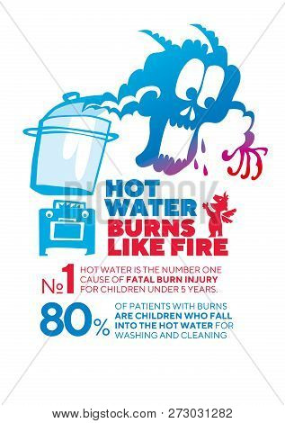 Hot Water Danger Infographic Poster Vector Template. Children Scalds And Burns Injuries Prevention I