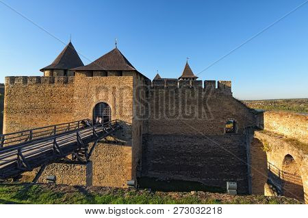 Medieval Khotyn Castle Near The Dniester River. Famous Touristic Place And Travel Destination In Ukr