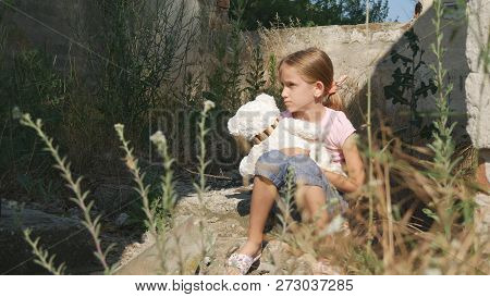 Crying Unhappy Child with Sad Memories, Stray Homeless Kid, Abandoned, Miserable poster