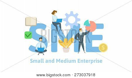 Sme, Small And Medium Enterprise. Concept With People, Letters And Icons. Flat Vector Illustration O