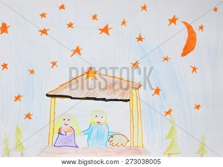 Holy Family Mary, Joseph And Jesus. Christmas Religious Nativity Scene. Children's Drawing.