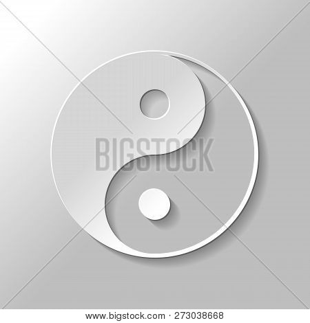 yin yan symbol. Paper style with shadow on gray background poster