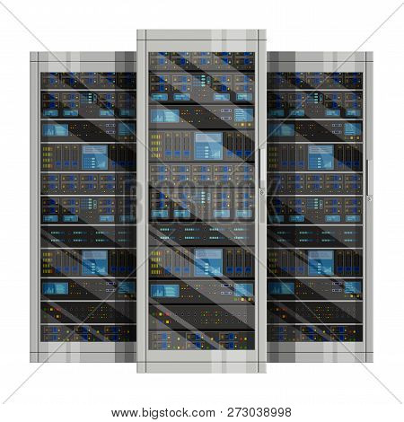Three Server Racks With Equipment, Data Center On White Background ,illustration Of Network Server,