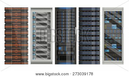 Set Of Racks With Equipment, Data Center On White Background ,illustration Of Network Server, Flat D
