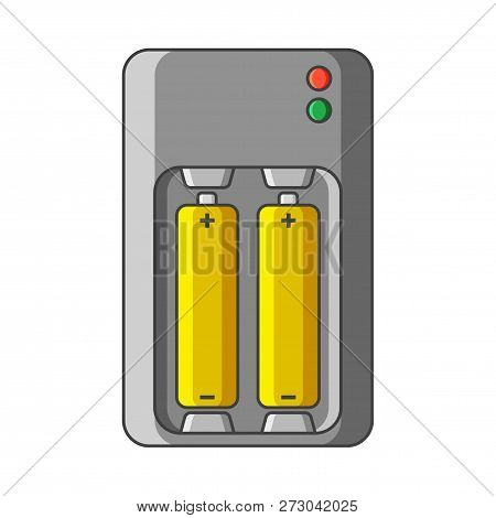 Charger Icon For Aa And Aaa Type Batteries. Vector Illustration On White Background. Isolated Drawin