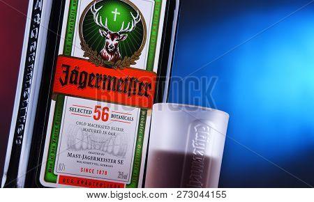 Bottle Of Jagermeister Herbal Liqueur.