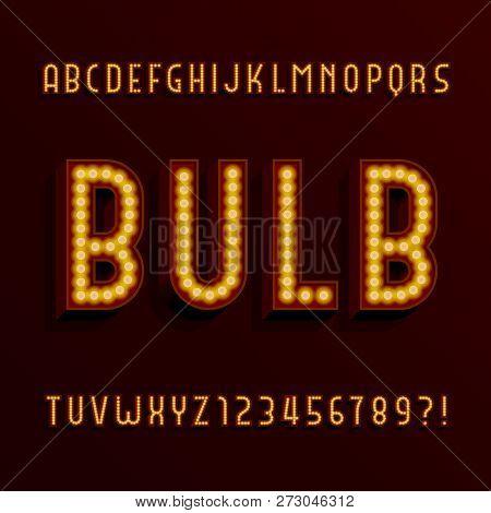 Retro Light Bulb Alphabet Vector Font. 3d Type Letters With Lightbulbs And Shadows. Vector Typescrip