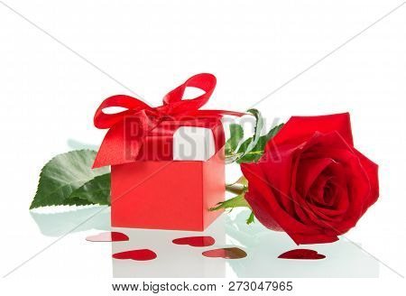Colourful Box With A Gift On Valentine's Day And Red Rose Isolated