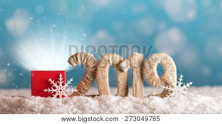 Shining Magic Box And The Inscription 2019 New Year Blue Background