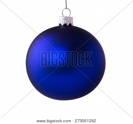 Bright Beautiful Blue Christmas And New Year Ball Isolated On White Background